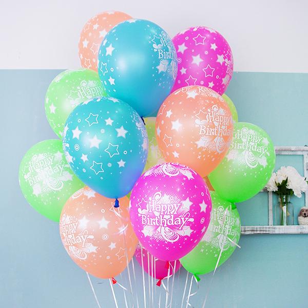 헬륨풍선 네온톤 생일혼합 10개묶음 [차량배달]